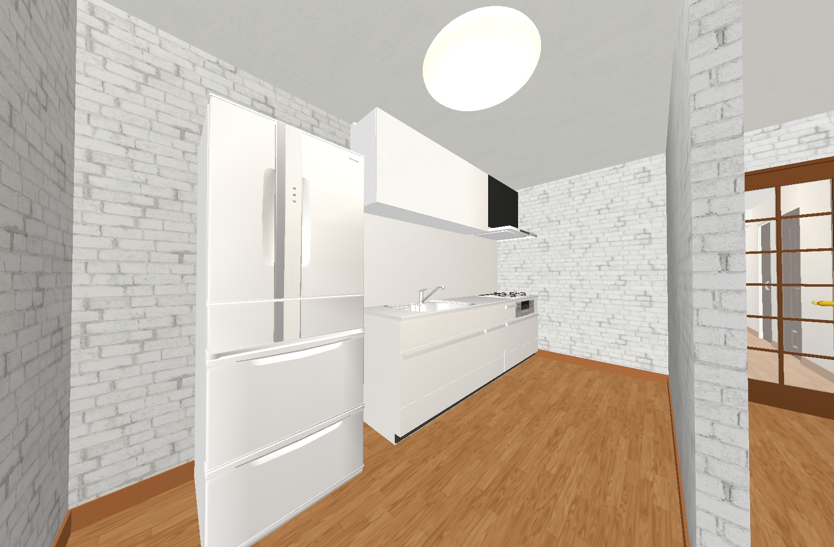 お洒落な壁紙と最新のキッチンで料理が楽しくなりますね!
