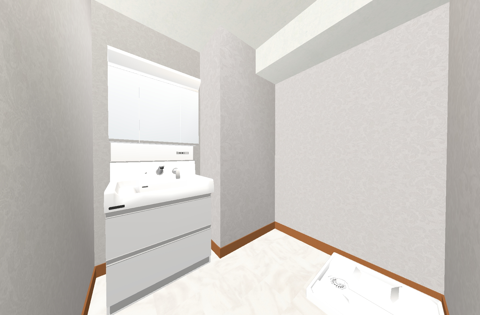 さりげないヨーロピアン調の模様が上品な洗面室