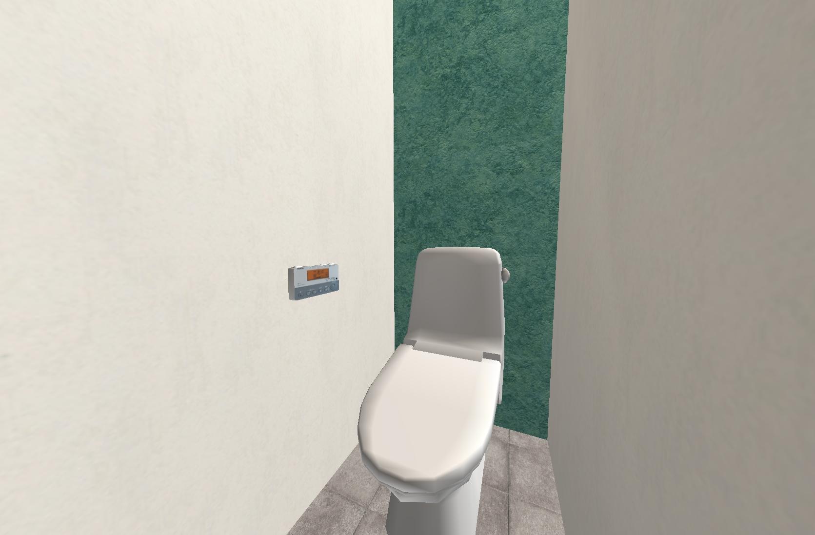 トイレもリビングのアクセントクロスと同じブルーに。石畳風の床ともマッチしています☆