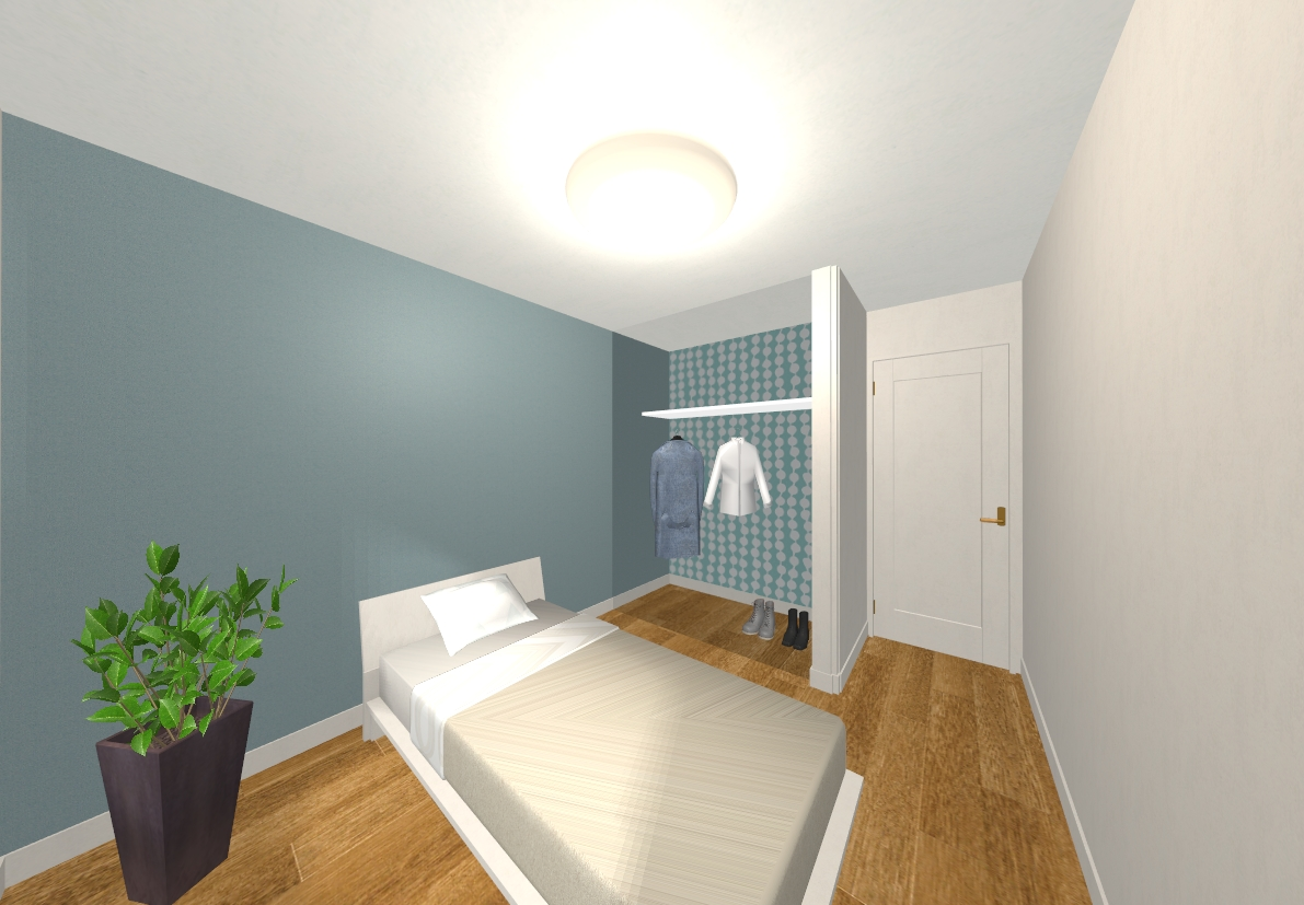 ブルーを基調とした洋室はオープンクローゼットのクロスがレトロ可愛い♪