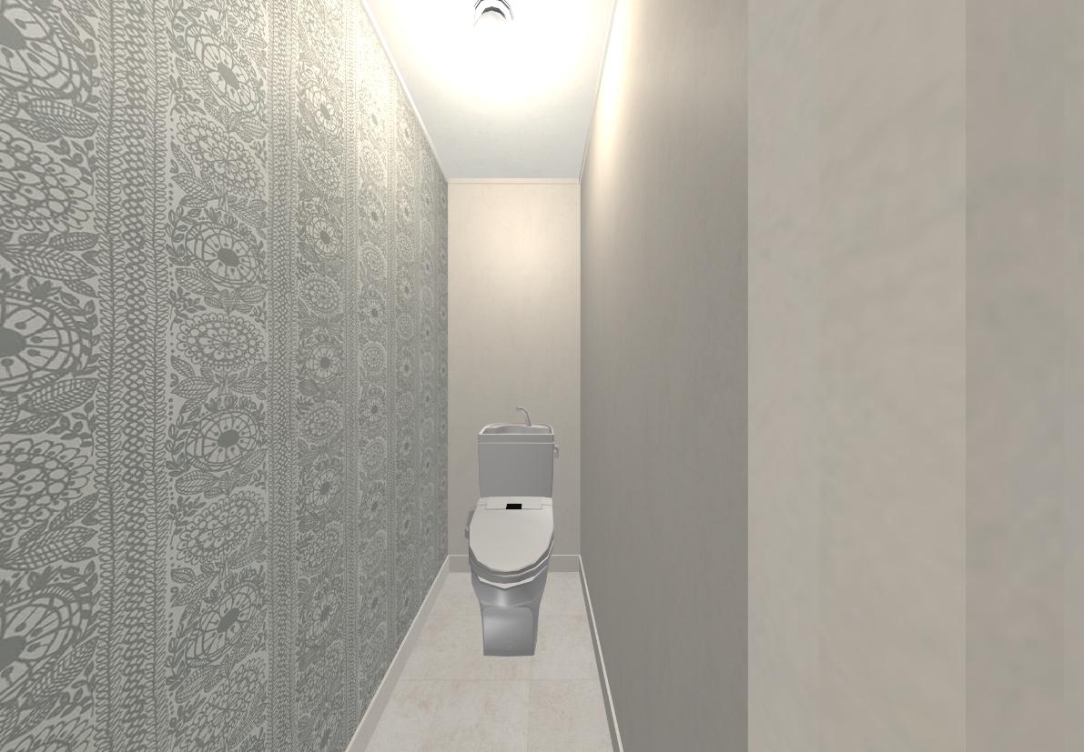 トイレの壁紙には北欧の人気テキスタイルブランド・フィンレイソンを採用しました。