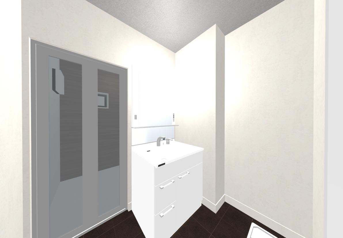 ブラックのタイル調フロアでシック&高級感のある洗面所