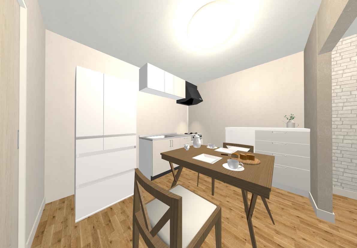 キッチンは白を基調としたシンプルで清潔感のあるスタイルです