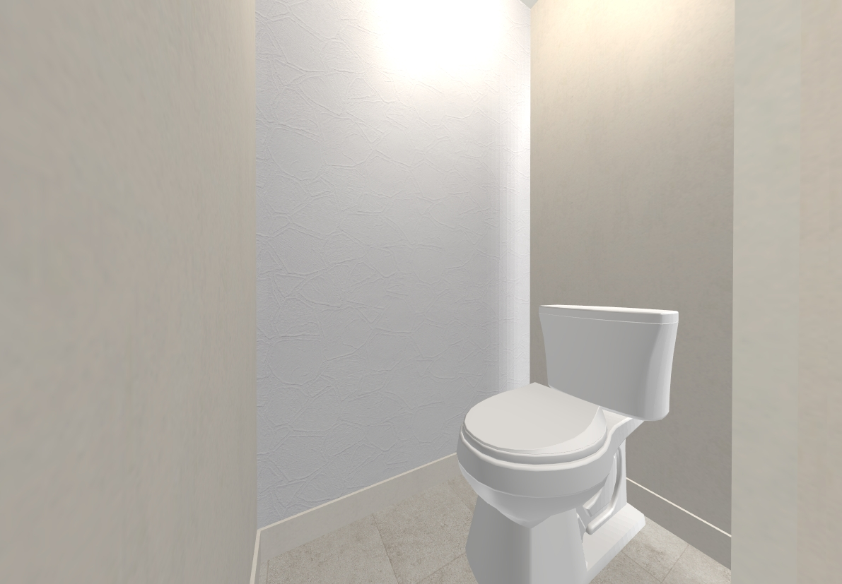 トイレは塗り壁風のテクスチャがアクセントになっています