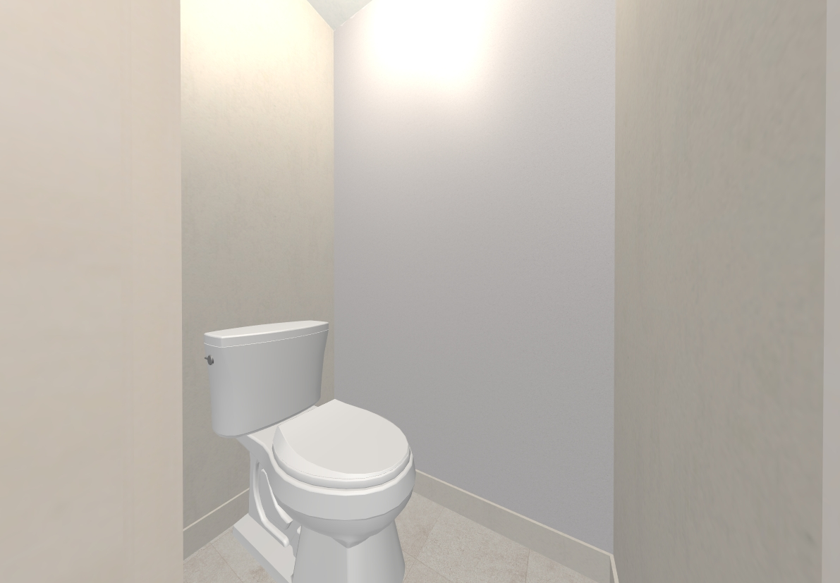 トイレは塗り壁風のアクセントクロスに床は大理石風のクッションフロアです
