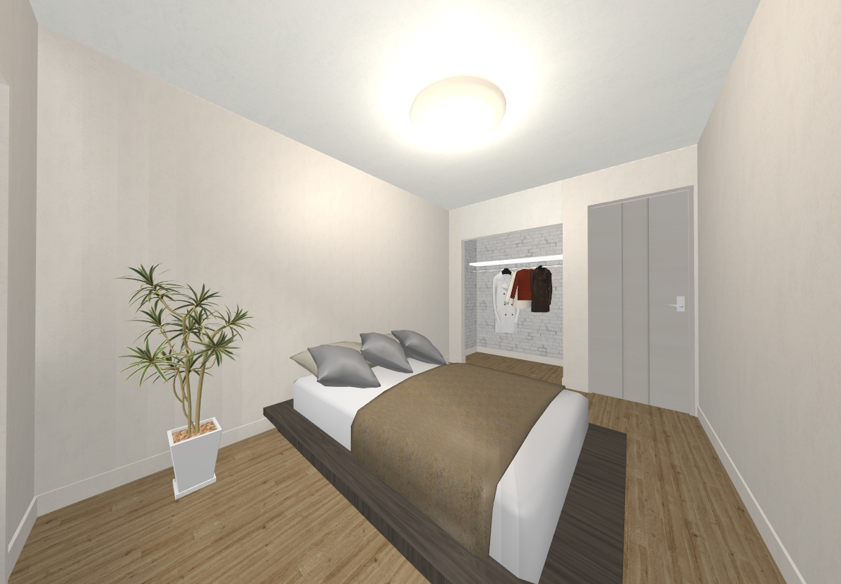 洋室はあえて白でシンプルに、オープンクローゼットがアクセントになっています