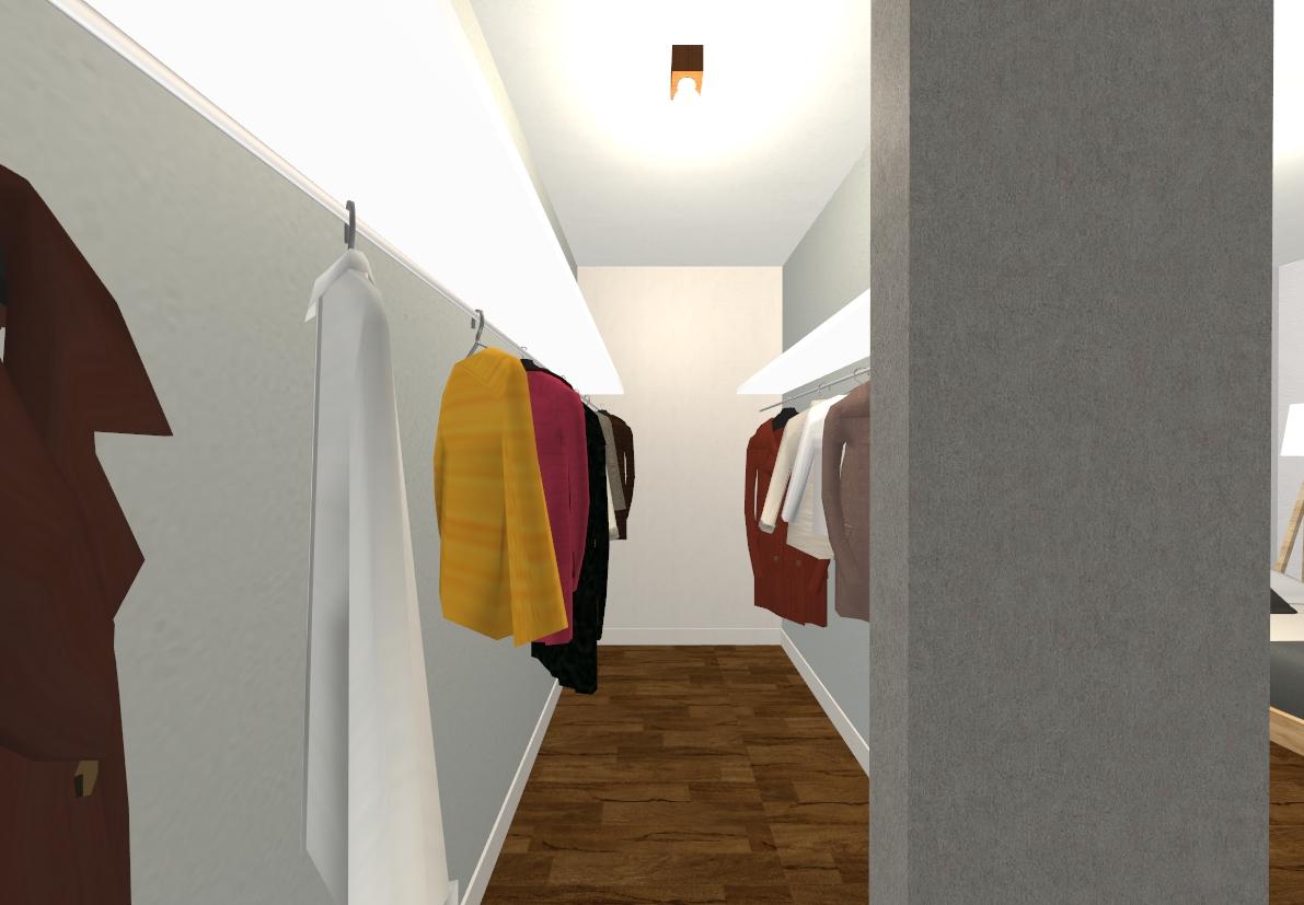 お洋服をたくさんかけることができるウォークインクローゼットです