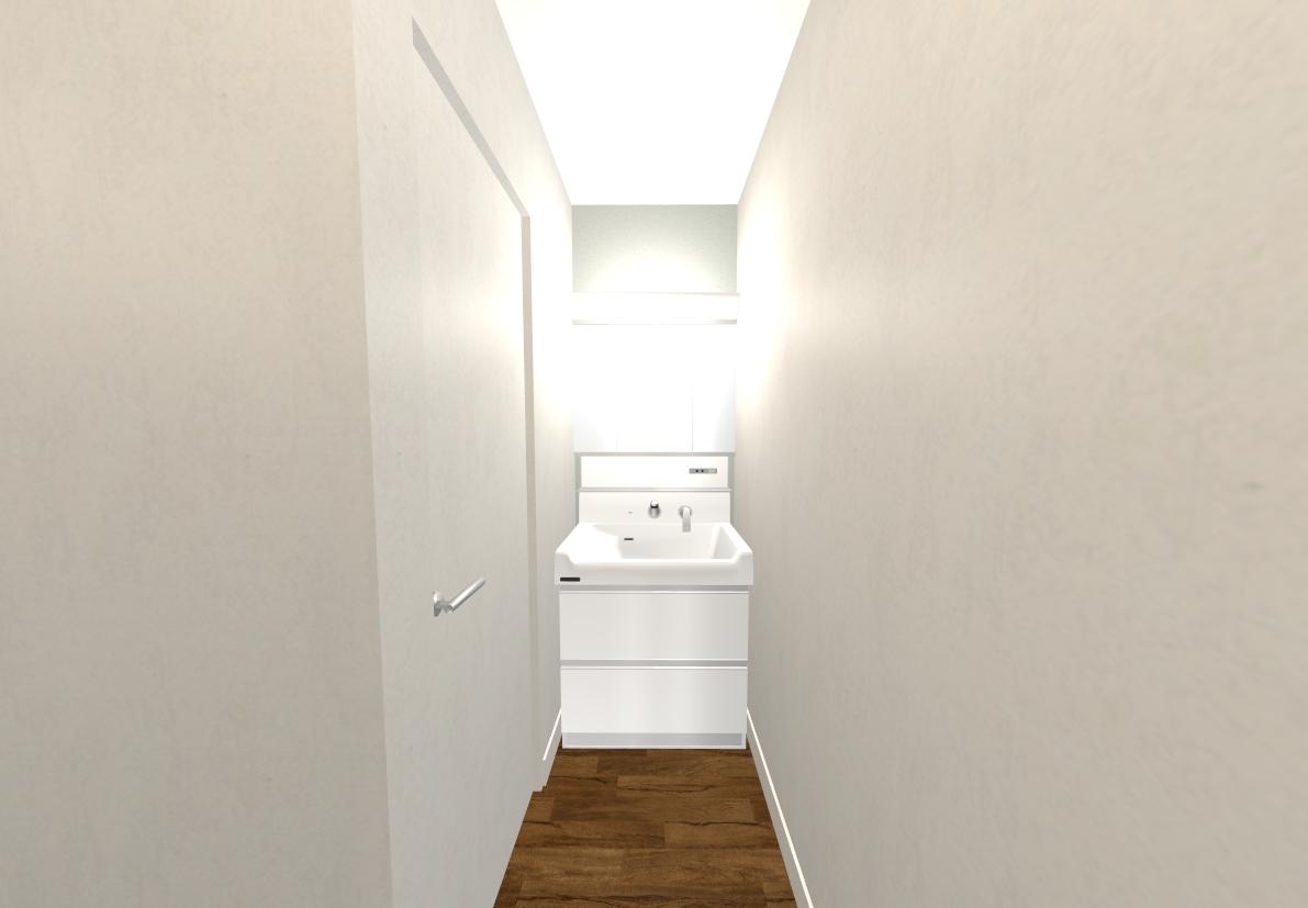 洗面所や脱衣室は淡いグリーンで優しい雰囲気です