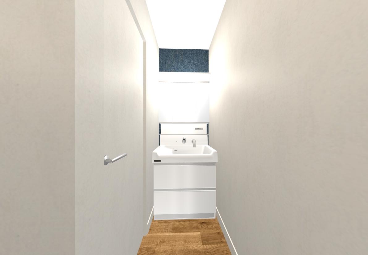 紺色のクロスで落ち着いた洗面スペースに。