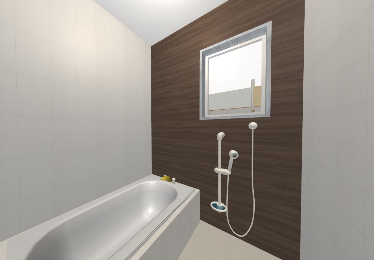 浴室は高級感のある濃い木目のデザイン