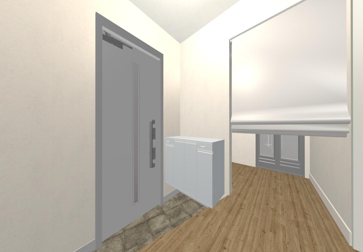 玄関横の脱衣室もロールスクリーンで、しっかり隠すことができます!