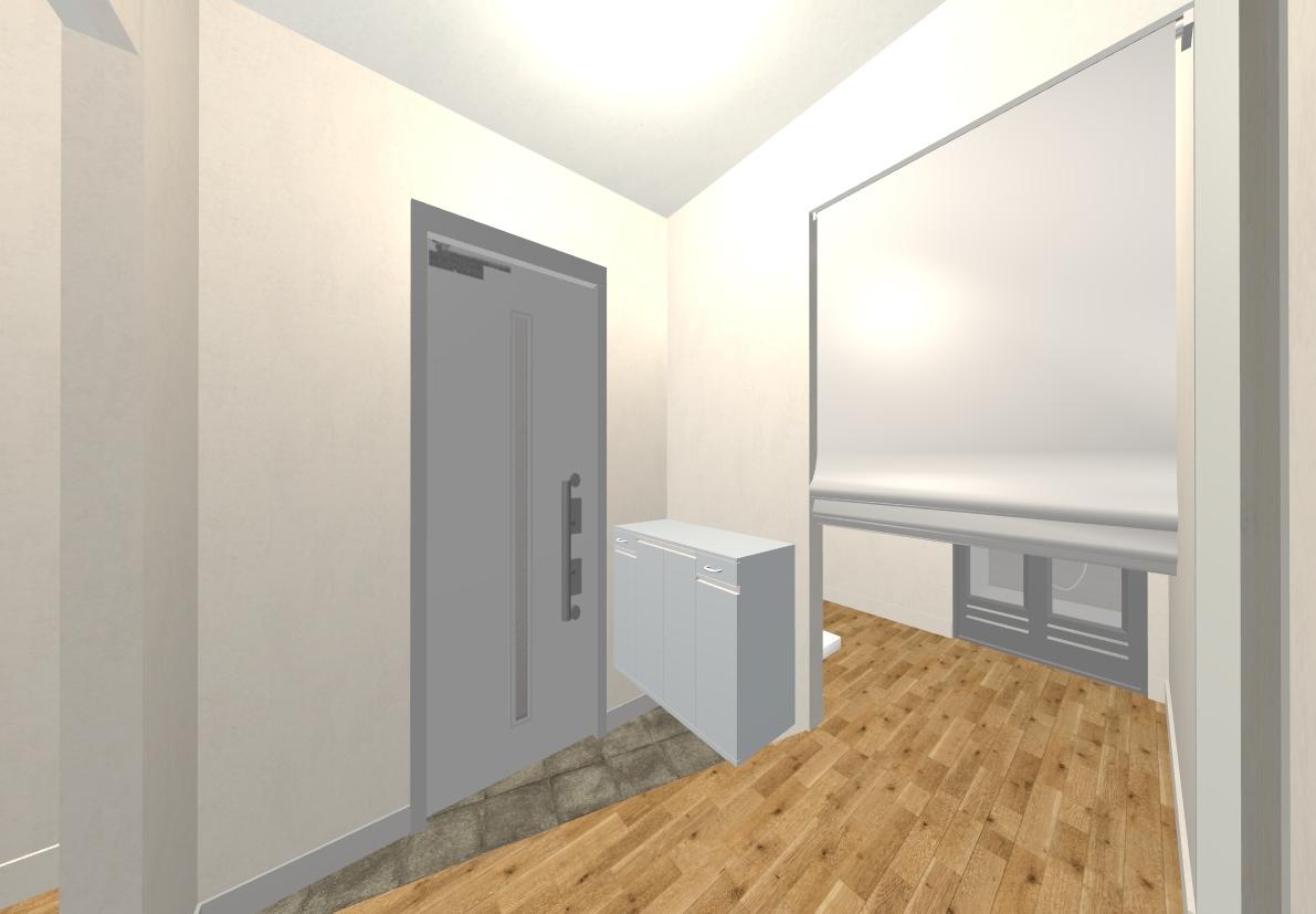 玄関横にある脱衣室もロールスクリーンで、しっかり隠すことができます!
